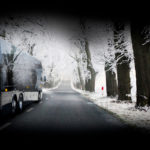 snow, black bus, HT45